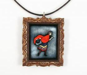 Red Riding Hood Fairy Tale Picture Frame Pendant and Cord Necklace