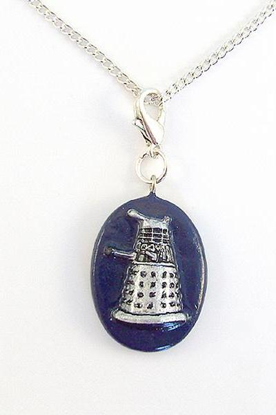 Dalek Doctor Who Villain Charm Pendant with Silver Chain Necklace
