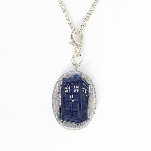 Doctor Who Tardis Charm Pendant with Silver Chain Necklace