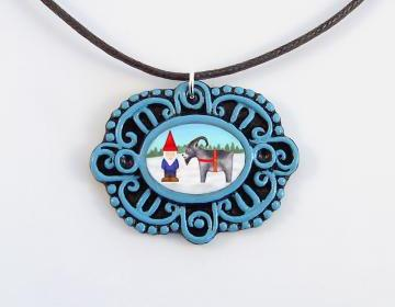 Tomten and Yule Goat Cameo Pendant and Brown Cord Necklace